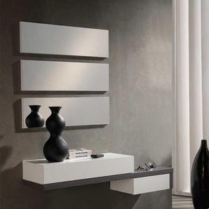 Garderobenmöbel in Weiß Hochglanz Dunkelgrau modern (vierteilig)