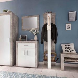 Garderobenmöbel Set in Beton Grau Weiß (3-teilig)