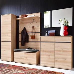 Garderobenmöbel Set in Buche Dekor mit Bank (6-teilig)