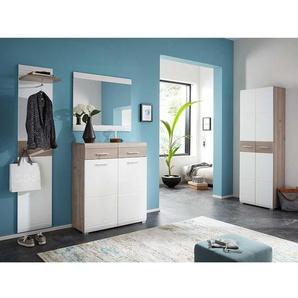Garderobenmöbel Set in Weiß und Eiche komplett (4-teilig)