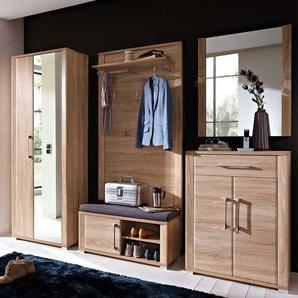Garderobenmöbel Set mit Bank und Spiegel Eiche Sonoma (5-teilig)