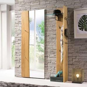 Garderobenmöbel Set mit Baumkante Eiche Massivholz (2-teilig)