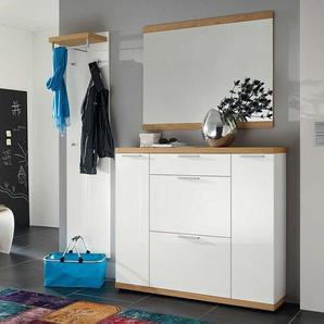Garderobenmöbel Set mit Spiegel Eiche furniert (3-teilig)