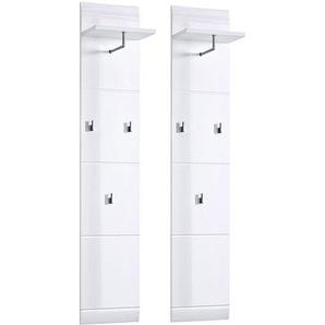 Garderobenpaneel Set DANARO-01 Hochglanz weiß (2-teilig), B x H x T ca. 80 x 153 x 23 cm