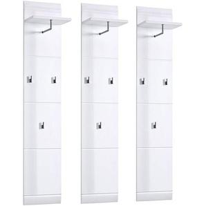 Garderobenpaneel Set DANARO-01 Hochglanz weiß (3-teilig), B x H x T ca. 130 x 153 x 23 cm