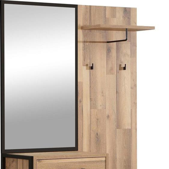 Garderobenschrank »Hud«, 114.1x199.9x44.5 cm (BxHxT), FORTE, Material Holzwerkstoff, Metall, Kunststoff, Erle