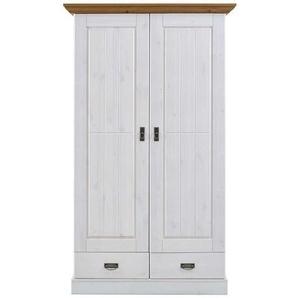 Garderobenschrank im Landhaus Design Weiß Kiefer massiv