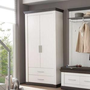 Garderobenschrank in Braun Wei� Landhausstil