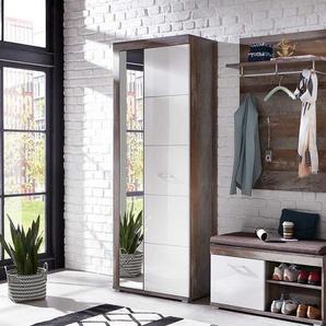 Garderobenschrank in Treibholz Optik und Weiß Hochglanz Spiegeltür