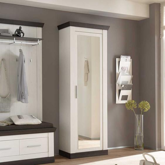 Garderobenschrank in Weiß Braun Landhaus