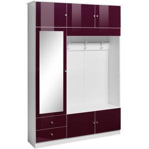 Garderobenschrank Höhe 202 cm »Kompakta«, lila, BxHxT, mit Schubkästen, borchardt Möbel
