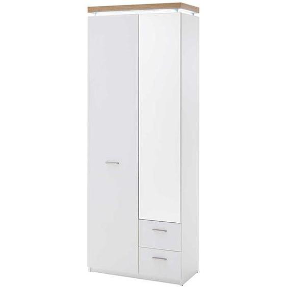 Garderobenschrank mit LED Beleuchtung Weiß und Wildeiche Optik