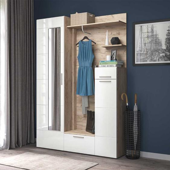Garderobenset in Weiß Hochglanz und Sonoma Eiche modern (2-teilig)