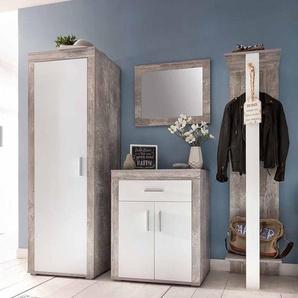 Garderobenset in Weiß Grau Beton kaufen (4-teilig)