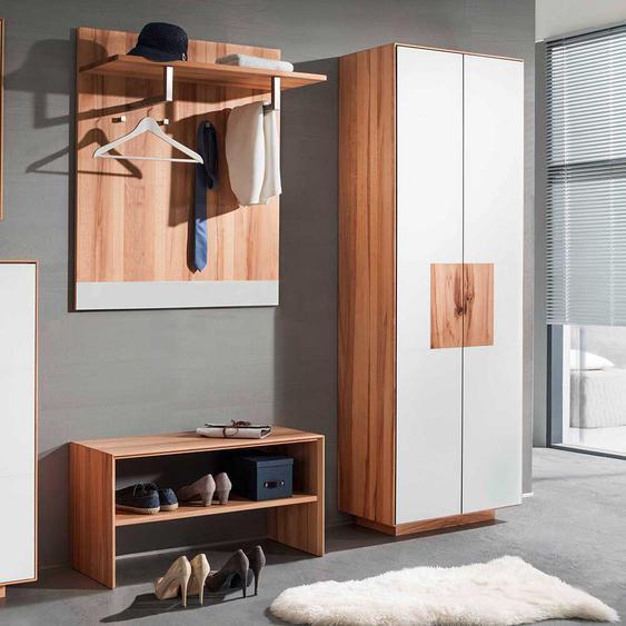 Garderobenset in Weiß mit Kernbuche Massivholz modern (3-teilig)