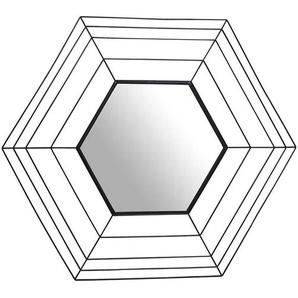 Garderobenspiegel mit Metallrahmen in Schwarz sechseckig