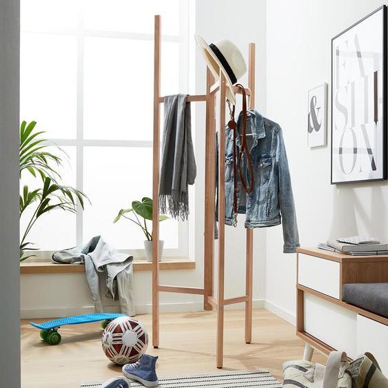 Garderobenständer - braun - Massivholz -