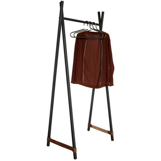 Garderobenstaender in Anthrazit Stahl und Echtleder