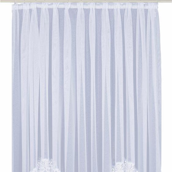 Gardine, Elvira, Wirth, Faltenband 1 Stück 15, H/B: 225/600 cm, halbtransparent, weiß Schlafzimmergardinen Gardinen nach Räumen Vorhänge Gardine