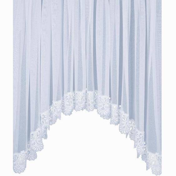 Gardine, Elvira, Wirth, Faltenband 1 Stück 8, H/B: 145/750 cm, halbtransparent, weiß Schlafzimmergardinen Gardinen nach Räumen Vorhänge Gardine