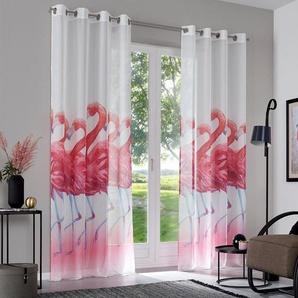 Gardine »Flamingo«, my home, Ösen (2 Stück)
