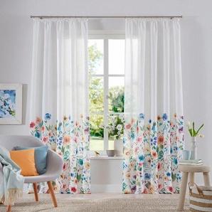 Gardine »Naila«, Home affaire, Kräuselband (2 Stück), blickdicht, bedruckt, Blumenmuster, pflegeleicht