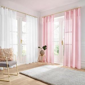 Gardine »TENDER«, Guido Maria Kretschmer Home&Living, Bindebänder (1 Stück), transparent, Leinen Optik mit Struktur, monochrom