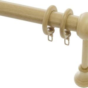 Gardinenstange »Gardinenstangen Set Holz«, GARDINIA, Ø 28 mm, 1-läufig, Fixmaß, Serie Lugano