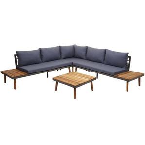 Garten-Garnitur HHG-082, Garnitur Sitzgruppe Lounge-Set Sofa, Akazie Holz grau