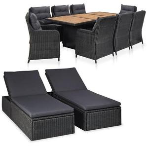 11-tlg. Garten-Lounge-Set Poly Rattan Schwarz - VIDAXL