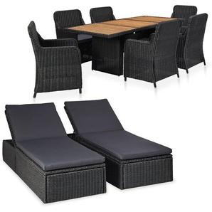 9-tlg. Garten-Lounge-Set Poly Rattan Schwarz - VIDAXL