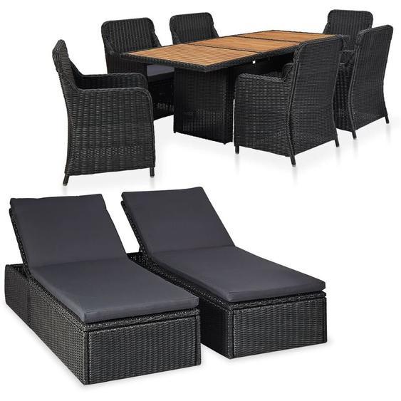 Garten-Lounge-Set Poly Rattan Schwarz 9-tlg.