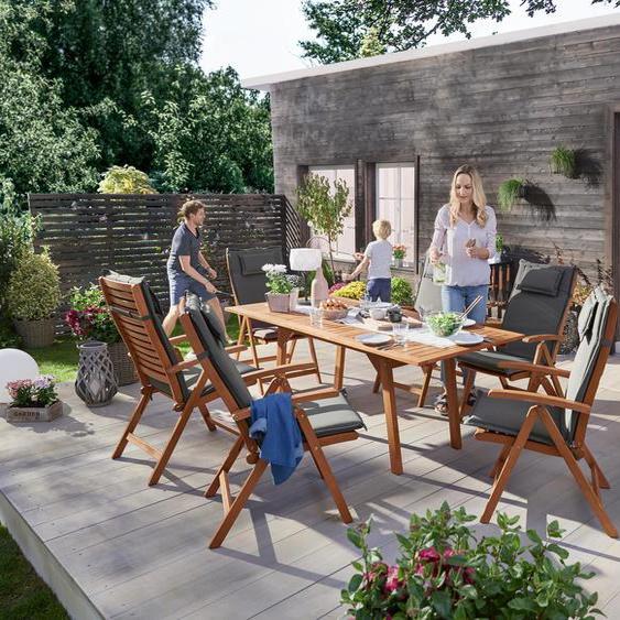Garten-Sitzgruppe - naturfarben - Massivholz -