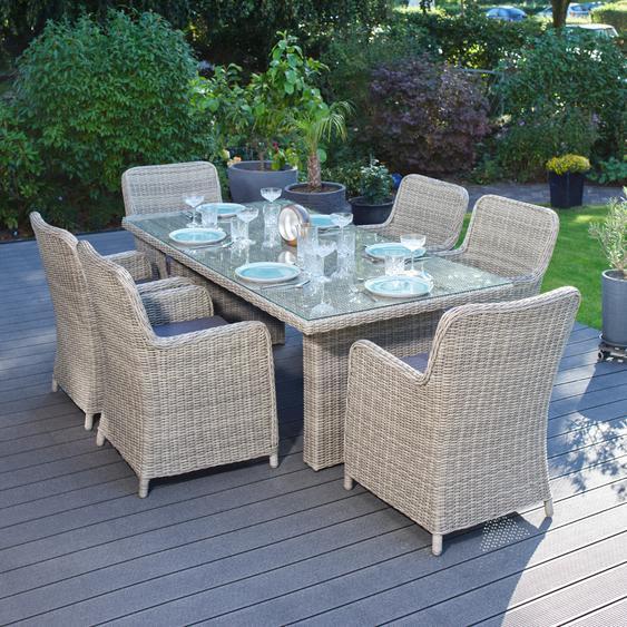 Garten Sitzgruppe Ria - 13-tlg., Poly Rattan, Grau