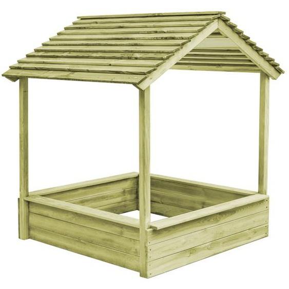 Garten-Spielhaus mit Sandkasten 128×120×145 cm Kiefernholz