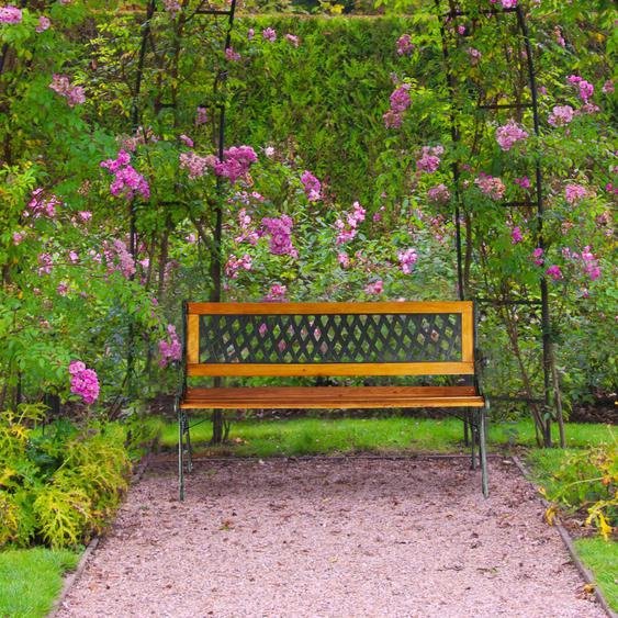 Gartenbank aus Holzwerkstoff, Kunststoff und Gusseisen Figaro