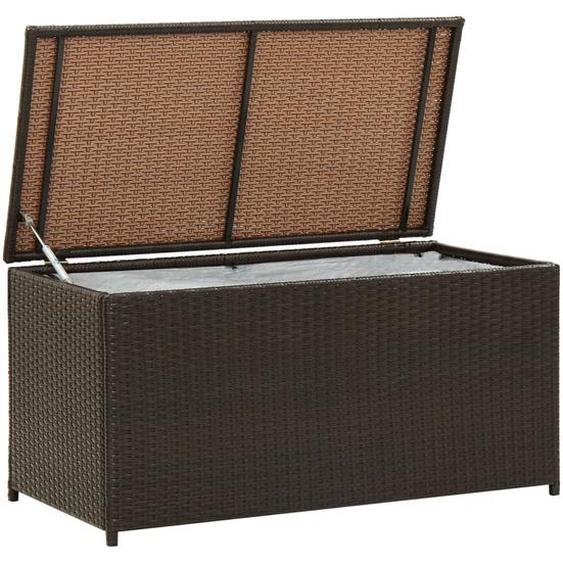Gartenbox Poly Rattan 100x50x50 cm Braun