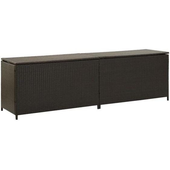 Gartenbox Poly Rattan 200x50x60 cm Braun