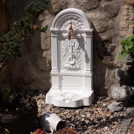 Gartenbrunnen mit Schlangenmotiv, Zapfstelle, Brunnen, Standbrunnen weiß