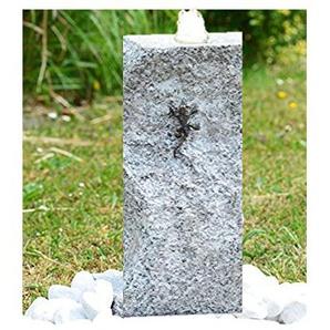 Gartenbrunnen Quellstein Granit mit Sockel Bronzeeidechse im Komplett-Set inkl. LED