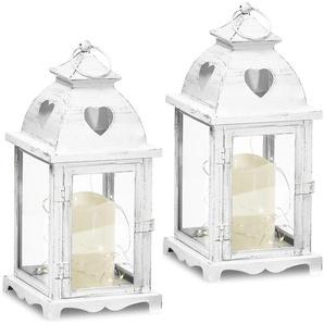 Gartenfreude Laterne Metall Lampe 2er-Set mit LED Kerze