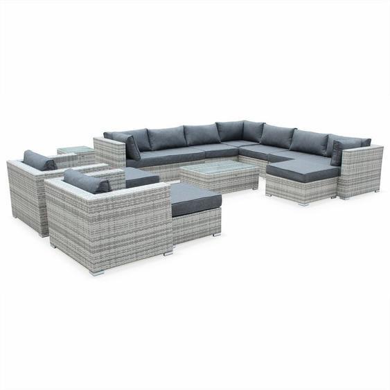 Alices Garden - Gartengarnitur aus Kunststoffrattan XXL - Tripoli - Grautöne Graue Kissen - 14 Sitzplätze