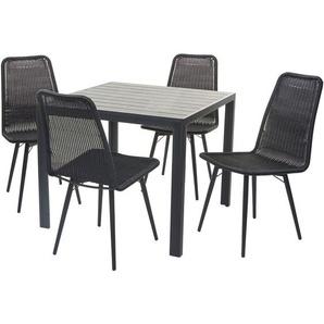Gartengarnitur HHG-602, Sitzgruppe Balkon-Set, WPC-Tischplatte 4xPoly-Rattan Stuhl+Tisch 76x90x90cm ~ schwarz
