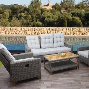 Gartengarnitur HWC-G28, Sitzgruppe Lounge-Set Sofa, Akazie Holz halbrundes Rattan verstellbar ~ grau, Kissen hellgrau