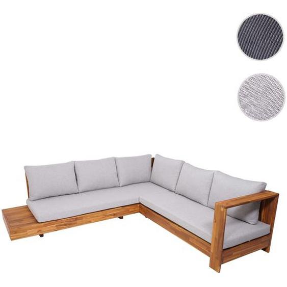 Gartengarnitur HWC-H59, Lounge-Set Sofa Sitzgruppe, Massiv-Holz Akazie Spun Poly ~ Kissen hellgrau