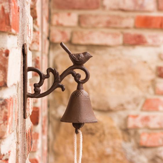 Gartenglocke mit Vogel, Glocke fürs Gartenhaus, Türglöckchen mit Vögelchen