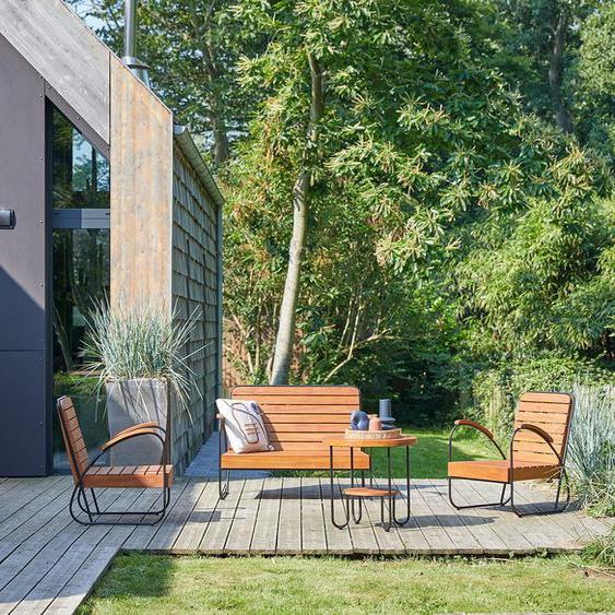 Gartenkombination Sitzgruppe mit Tisch Teakholz 4teilig Outdoor Design Metall