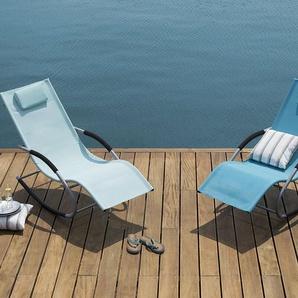 Gartenliege hellblau Textilene Schaukelfunktion CARANO