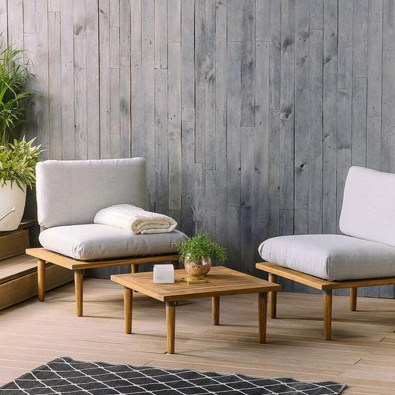 Gartenmöbel 2er Set Akazienholz hellgrau FRASCATI