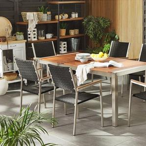 Gartenmöbel Set Eukalyptusholz 180 cm 6-Sitzer Rattan schwarz GROSSETO